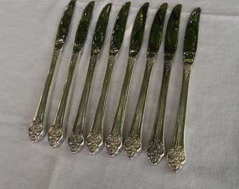 8 Vintage Silver Plate Knives PLANTATION Silver Plate Flatware Dinner Knives Wedding Decorations Table Decor French Country 8 Grille Knives