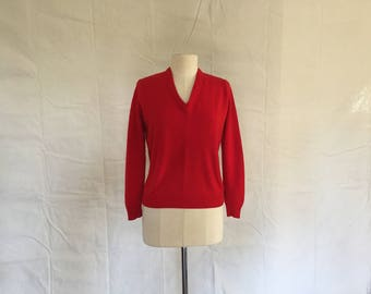 Vintage Red Irish Cashmere V Neck Sweater.