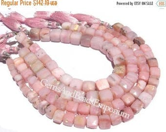 50% Off Sale Full 8 Inches - 5 - 9mm Finest Quality Pink Peruvian Opal Faceted 3D Cubes Briolettes