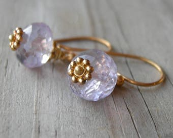 Gold Vermeil Lavender Amethyst Earrings February Birthstone