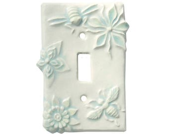Honeybees Ceramic Single Toggle Light Switch Cover in White Agate Glaze