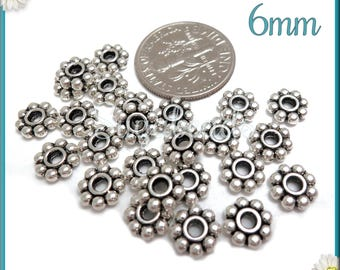 100 Antiqued Silver Daisy Spacers 6mm DS18