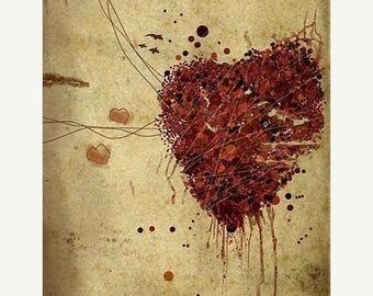 50% Off Summer Sale - Heart Art - 8x10 Print - Easily Broken - Bloody heart - Red Brown