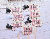 Wedding Cupcake Toppers Party Picks -Barbecue Theme - Just Married I Do  - Set of 18 -  Rustic Vintage Style Parchment