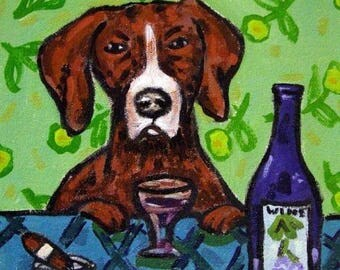 20 % off storewide Pointer at the Wine Bar Dog Art Tile Coaster Gift
