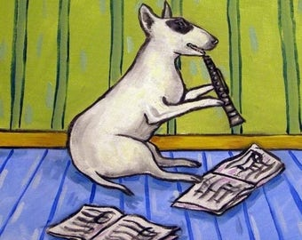 20 % off storewide Bull Terrier Playing the Clarinet Dog Art Tile