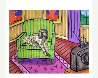 20 % off storewide Afghan hound in the Living Room Dog Art Print