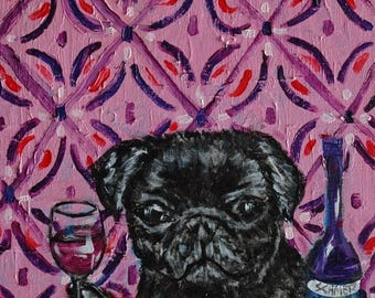 20% off black pug at the wine bar dog art signed art print