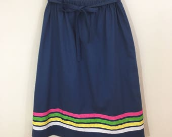 80s Serbin Navy Ribbon Trim A-line Skirt, Size Medium
