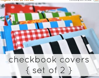 FINAL CLEARANCE checkbook covers (2) RETIRED Prints // Two Oilcloth Checkbook Covers - many colors