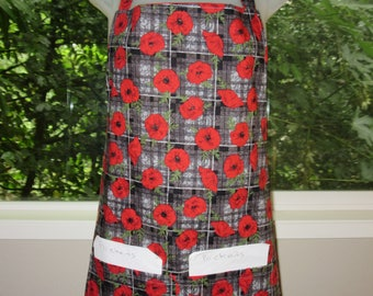 Aprons for Women - Womens Aprons - Plaid Poppies