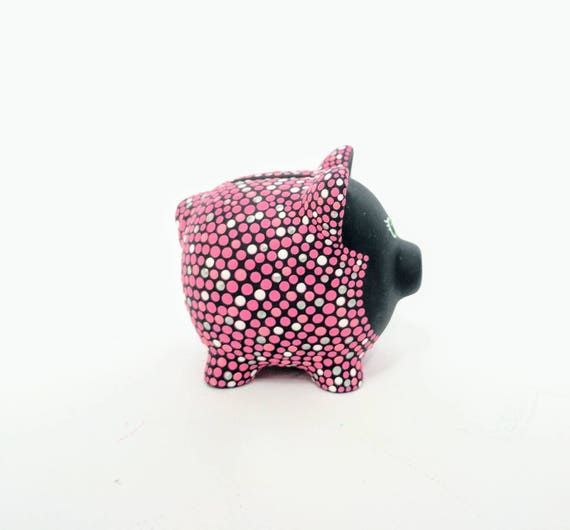 Pink Piggy Bank: Hand painted Piggy Dot painting