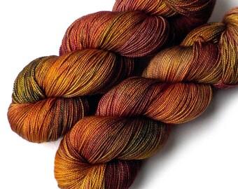 Hand Dyed Yarn Merino and Silk Fingering Yarn - Forest Floor, 600 yards/150 grams