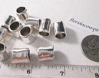 Metal Beads, 14x11mm, Silver Tube Bead, Rustic Look, 14mm Tube Bead, Large Hole Bead, 14mm Metal Spacer, QTY 10 beads - bm235