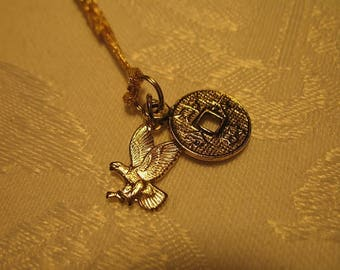 Good Luck and Long Life Amulet Talisman Omamori Charm with Eagle and Gold Cord
