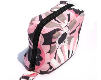 Summer Clearance Essential Oil Case Holds 6 Bottles Essential Oil Bag Pink and Gray Large Flowers