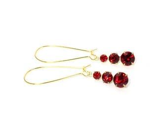 HALF PRICE SALE Vintage golden brass red crystal graduating charm dangle earrings