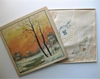 Gorgeous Vintage Handkerchiefs, NIB, 1930s, with Christmas Stickers on Bottom