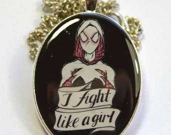 Spider Gwen Hand Painted Feminist Geek Portrait Pendant