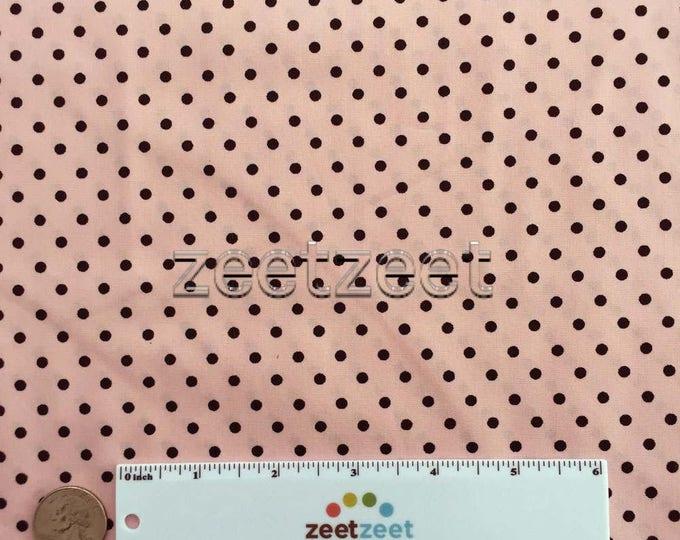 "PINK BLACK 1/8"" POLKA Dot Robert Kaufman Pimatex Cotton Quilt Dress Fabric Basics - Pink with 1/8 Black Polka Dots Sold by the Yard"