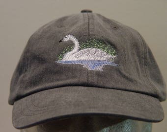 TRUMPETER SWAN BIRD Hat - One Embroidered Wildlife Cap - Price Embroidery Apparel - 24 Color Caps Available