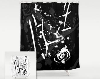 Black and White Fabric Shower Curtain in an Abstract Graphic Ink Splatter Pattern