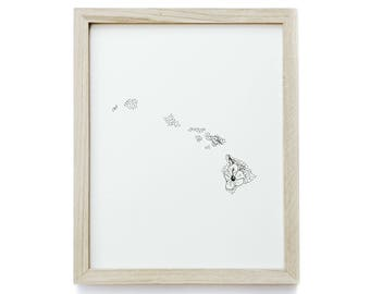 Hawaii> Hawaiian Hibiscus> State Flower Drawing> Giclee Print