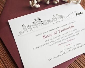 City Skyline Invitation / San Diego Portland San Francisco Chicago Seatlle  / Wedding Rehearsal Dinner Welcome
