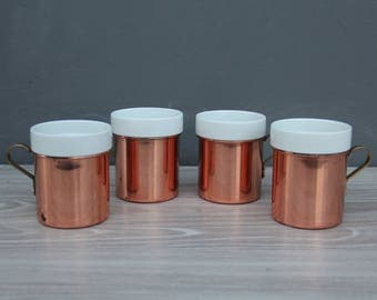 Set of Copper & Ceramic Mugs