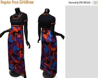 ON SALE 1970s Olga Maxi Vintage 70s Sz S-M Empire Waist Gown Abstract Print Lounge Hostess Black Blue Purple Red