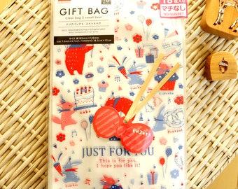 Kawaii Japanese Clear Gift Wrapping Bag - Sweets Bear