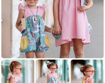 UPDATED Eleanor Dress, Top and Romper PDF Sewing Pattern Size 12 month - 12 year Girls Toddler Tween