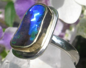 Opal Ring - Sterling Silver 22K Gold Australian Koroit Boulder Opal ring - US size 6 1/4 - Opal promise ring with stars - size 6.25