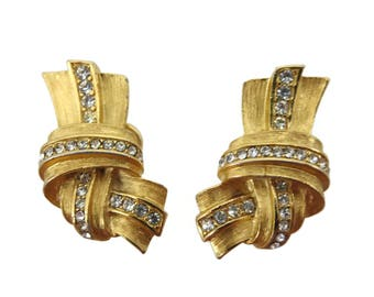Givenchy Earrings - Vintage Rhinestone Gold Designer Costume Jewelry Clip On Knot Earrings Vintage Earrings for Women