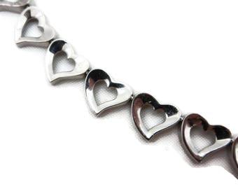 Sterling Silver Bracelet - Heart Links Toggle Clasp