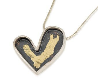 Keum Boo Heart Pendant Necklace , Heart Necklace , Heart Necklace Oxidised Silver , Black And Gold Necklace , Unique Pendant Necklace