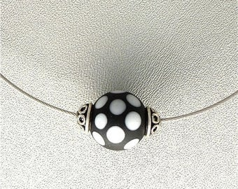 Summer Sale Black and White  Dots Lampwork Bead on Steel Cable Necklace. 18 ins