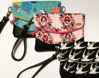 Fold-Over Clutch // Compact Purse // zipper top purse // Vegan Friendly Bag