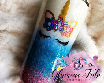 Unicorn Glitter Dipped Stainless Steel  Tumbler Cup