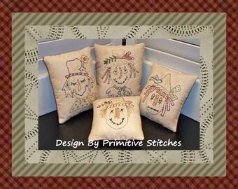 Scarecrow Mini Collection 1-Primitive Stitchery  E-PATTERN by Primitive Stitches-Instant Download