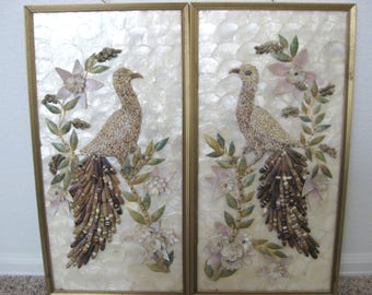 Mid Century Capiz Sea Shell Framed Art Floral Peacocks Birds Wall Hangings