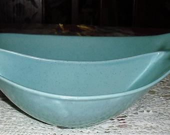Aqua Blue Monterey Pottery Split Serving Bowl