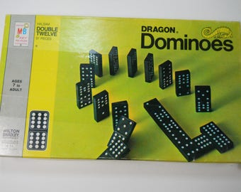 Dragon Double Twelve Dominos 1970 Milton Bradley Origin Box with 91 Pieces MB Ages 7-Adult Vintage Game Domino Parts Collectors Gift REUSE