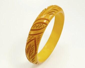 Deep Carved Bakelite Bangle Bracelet Mustard Yellow