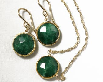 Genuine Emerald 2-piece SET Emerald Necklace Emerald Earrings Emerald Jewelry May Birthstone Precious Emeralds BZ-SET-105.1-Em/g