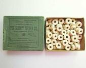 Box of 1940 Vintage Unbleached White Cotton Thread Shuttle Bobbins, 100+ Spools of Thread, Sewing Thread, Summit Co., East Hampton CT