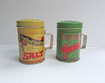 Vintage 1980's Tin Advertising Stove Top or Outdoor Grilling Salt, Pepper Shakers, Old Time Advertising &Typography Look, Kitchen Shakers