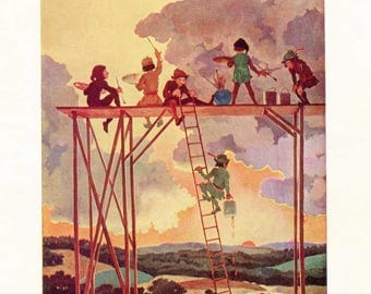 Vintage Elves Painting the Sky 1909 Bookplate Illustration Print by Gertrude Kay, Original Story Book Print, Elves Painting at Sunset