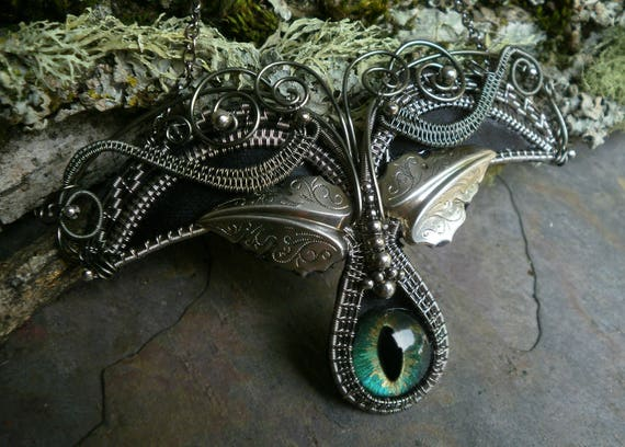 Gothic Steampunk Devil Wings and a Blue Green Eye Necklace