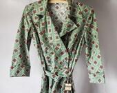 Vintage Bathrobe, Vintage Flannel Bathrobe, Women's Bathrobe, Flannel Robe, 1940's Flannel Robe, Vintage Robe, Christmas Gift